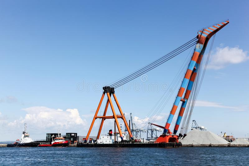 Aarhus industrial harbor. In Denmark stock images