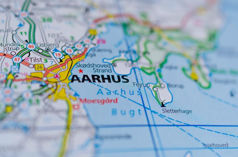 Aarhus on map. Close up shot of Aarhus on a map stock photos
