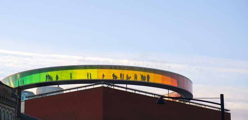 Aarhus rainbow panorama. Aarhus museum panorama with rainbow glass royalty free stock image
