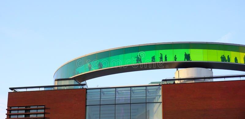 Aarhus rainbow panorama. Aarhus museum panorama with rainbow glass stock images