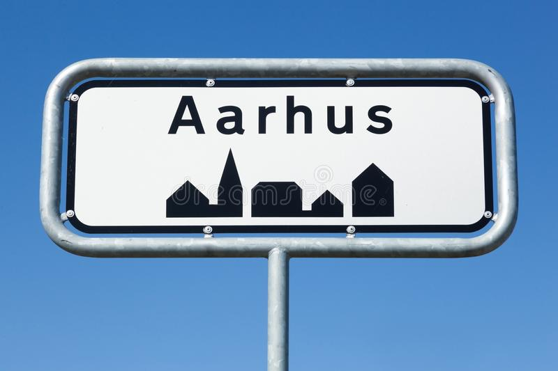 Aarhus road sign in Denmark. With blue sky stock photo