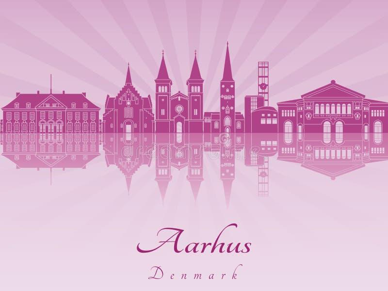 Aarhus skyline in purple radiant orchid. In editable vector file stock illustration