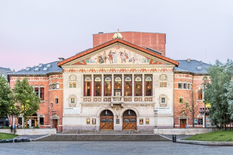 Aarhus Theatre with an adorned facade. In the soft evening light, inaugurated in 1900, Denmark. July 15, 2019 royalty free stock photography