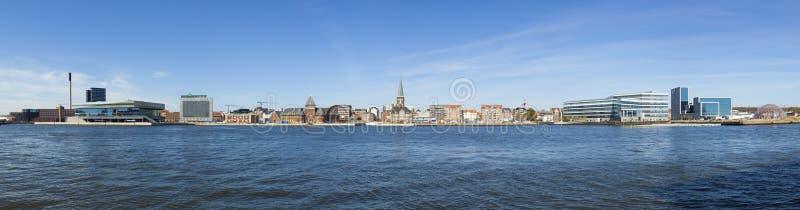 Aarhus waterfront panorama. Panoramic view of the waterfront of Aarhus, European Capital of Culture 2017, Denmark stock image