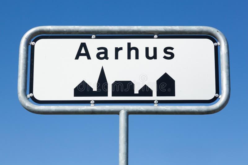 AarhusVerkehrsschild herein Dänemark stockfoto