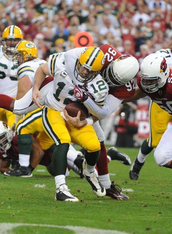Aaron Rodgers wordt bij NFL-het Vervangingsspel dat van vandaag wordt ontslagen stock foto