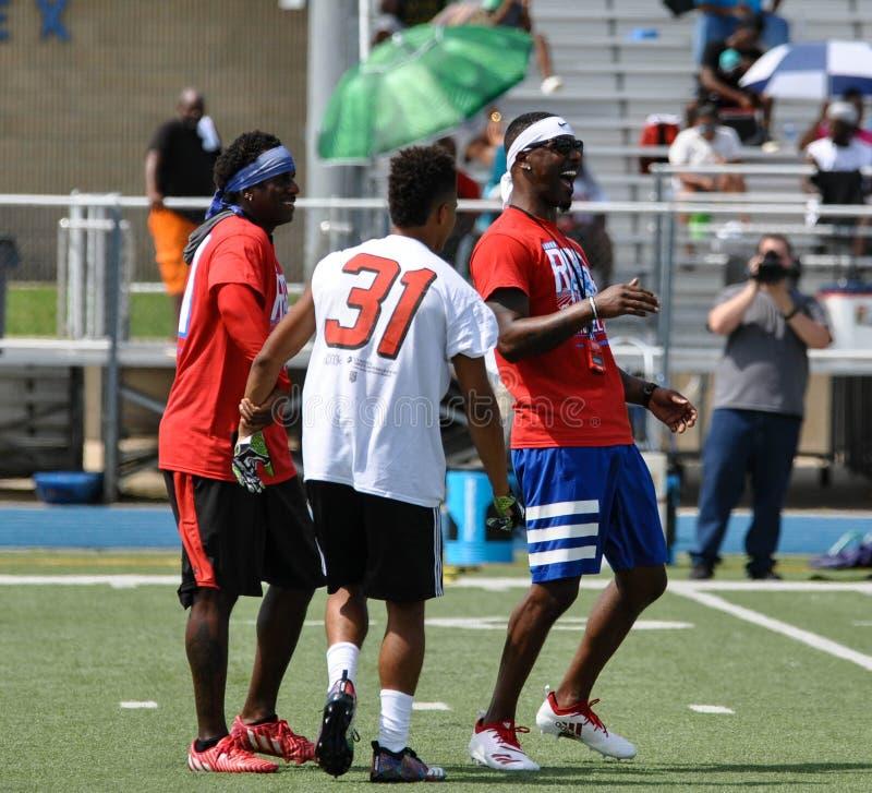 Aaron Ross Football Camp en John Tyler High School en Tyler, Tejas el 21 de julio de 2018 imagen de archivo