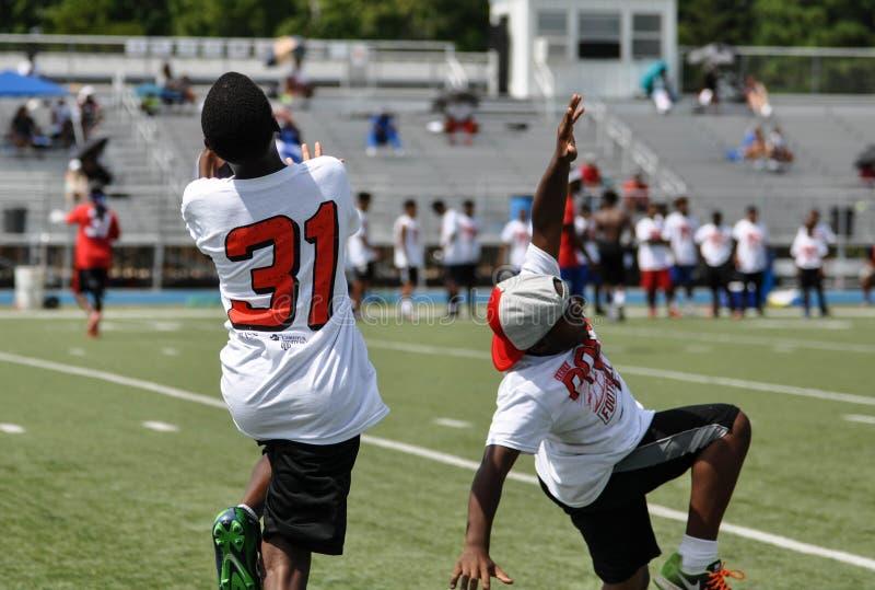 Aaron Ross Football Camp en John Tyler High School en Tyler, Tejas el 21 de julio de 2018 foto de archivo