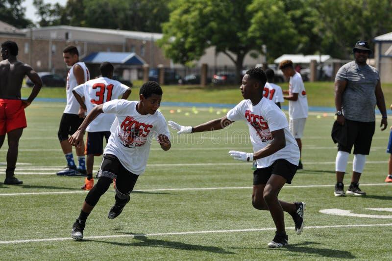Aaron Ross Football Camp en John Tyler High School en Tyler, Tejas el 21 de julio de 2018 imágenes de archivo libres de regalías