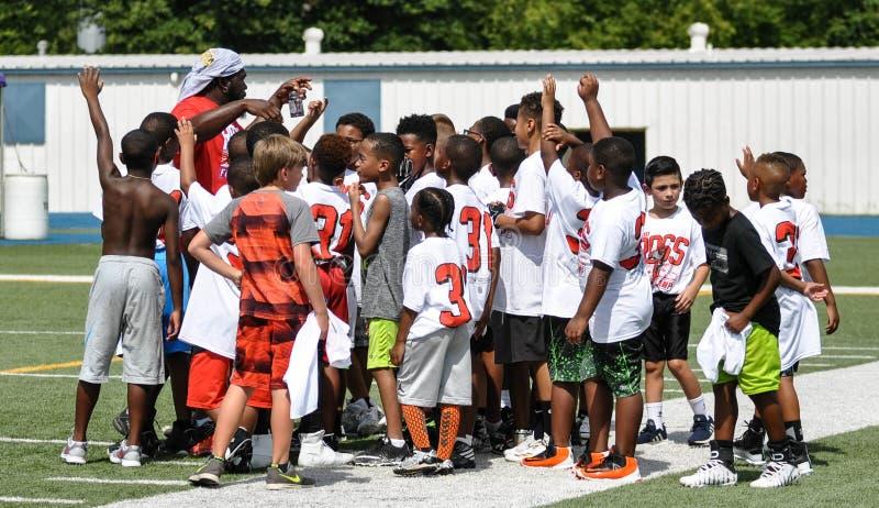 Aaron Ross Football Camp en John Tyler High School en Tyler, Tejas el 21 de julio de 2018 fotografía de archivo libre de regalías