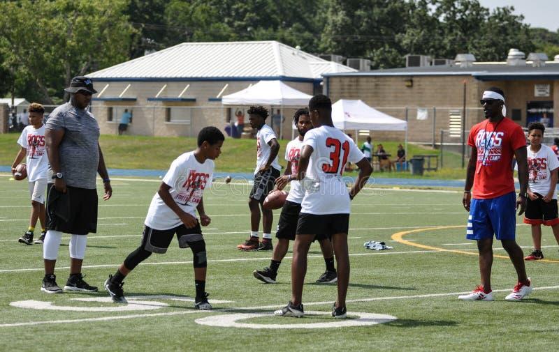 Aaron Ross Football Camp en John Tyler High School en Tyler, Tejas el 21 de julio de 2018 imagen de archivo libre de regalías