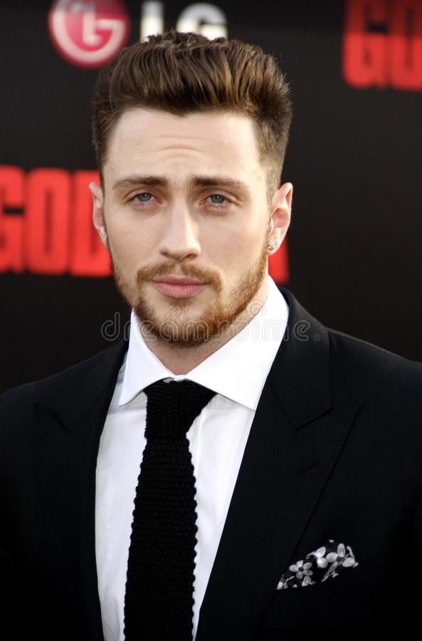 Aaron Taylor-Johnson. At the Los Angeles premiere of Godzilla held at the Dolby Theatre in Los Angeles on May 8, 2014 in Los Angeles, California stock image