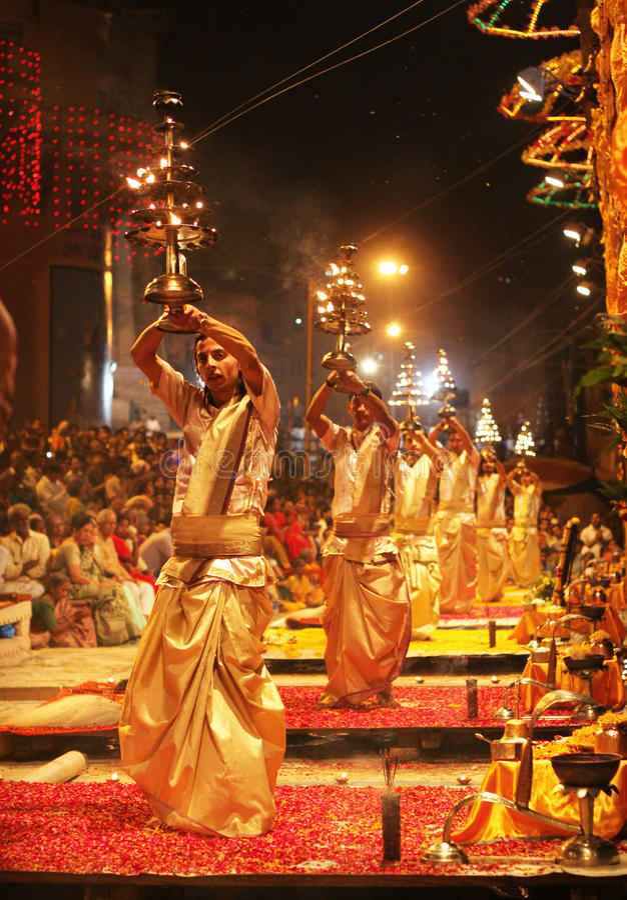 aarti ganga Varanasi fotografia royalty free