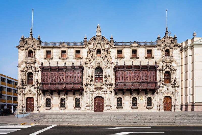 Aartsbisschop Palace, Lima stock afbeeldingen