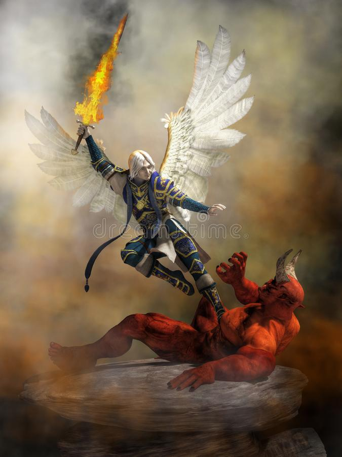 Aartsengel Michael Defeating Satan royalty-vrije illustratie