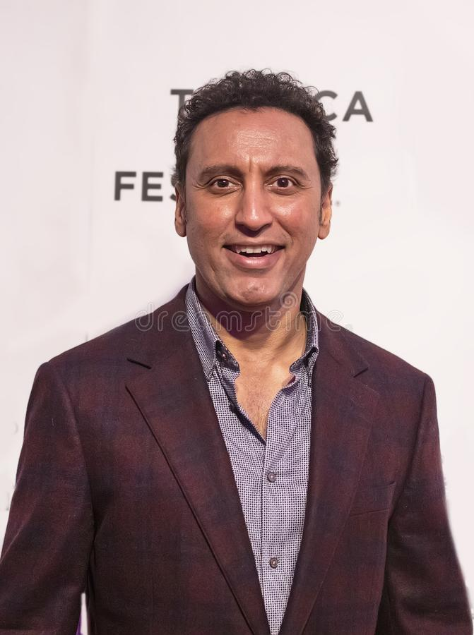 Aasif Mandvi at World Premiere of `Yesterday` at 2019 Tribeca Film Festival. British-American comedian and actor Aasif Mandvi arrives at the World Premiere of ` royalty free stock photos