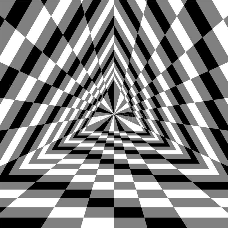 Abîme de triangle Rectangles monochromes augmentant du centre Illusion optique de volume et de profondeur illustration stock