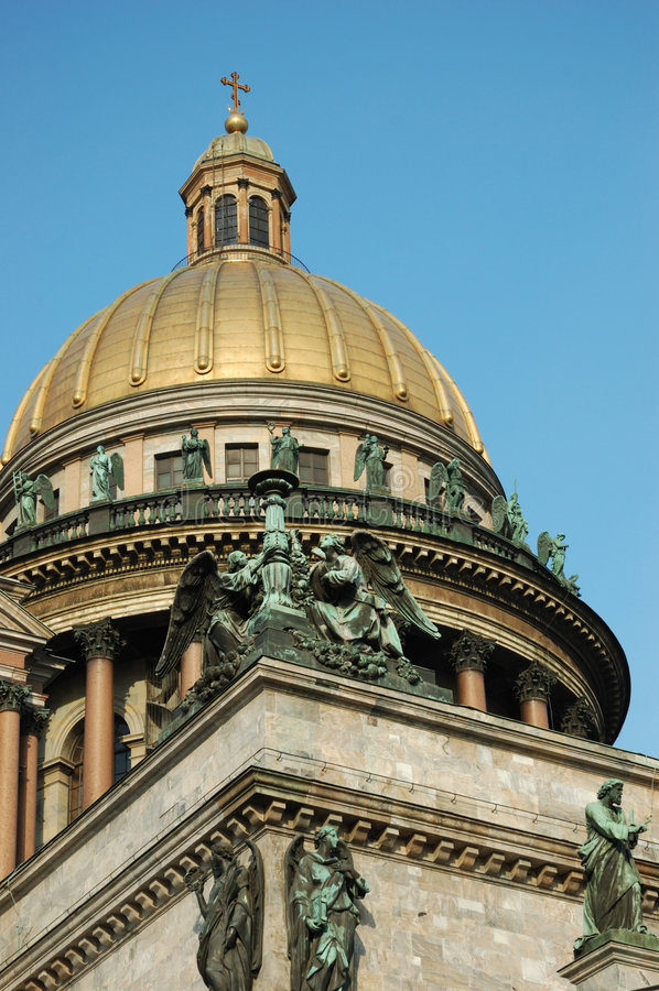 Abóbada da catedral de Isaac de Saint em St Petersburg imagem de stock