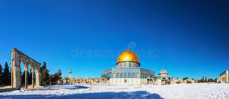 Abóbada da mesquita da rocha no Jerusalém fotografia de stock