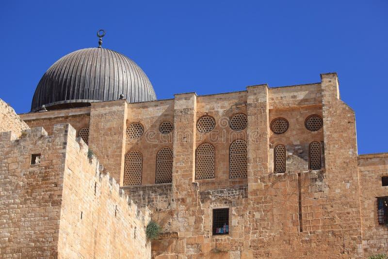 Abóbada da mesquita do al-Aqsa e parede do sul fotografia de stock royalty free