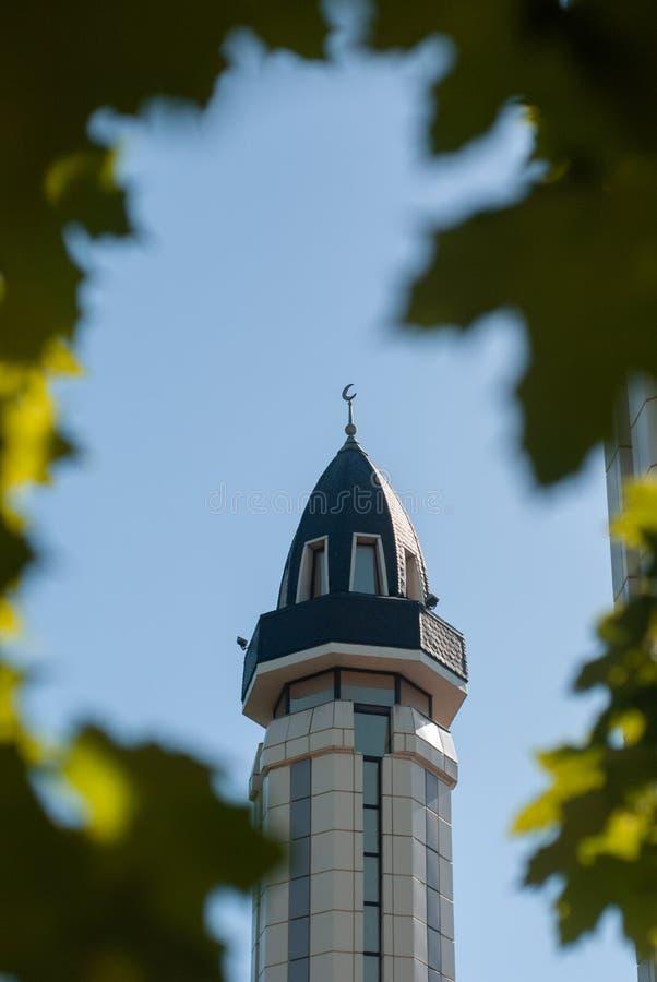 A abóbada da mesquita e das folhas de bordo, a mesquita e detalhe crescente da lua, fotografia de stock
