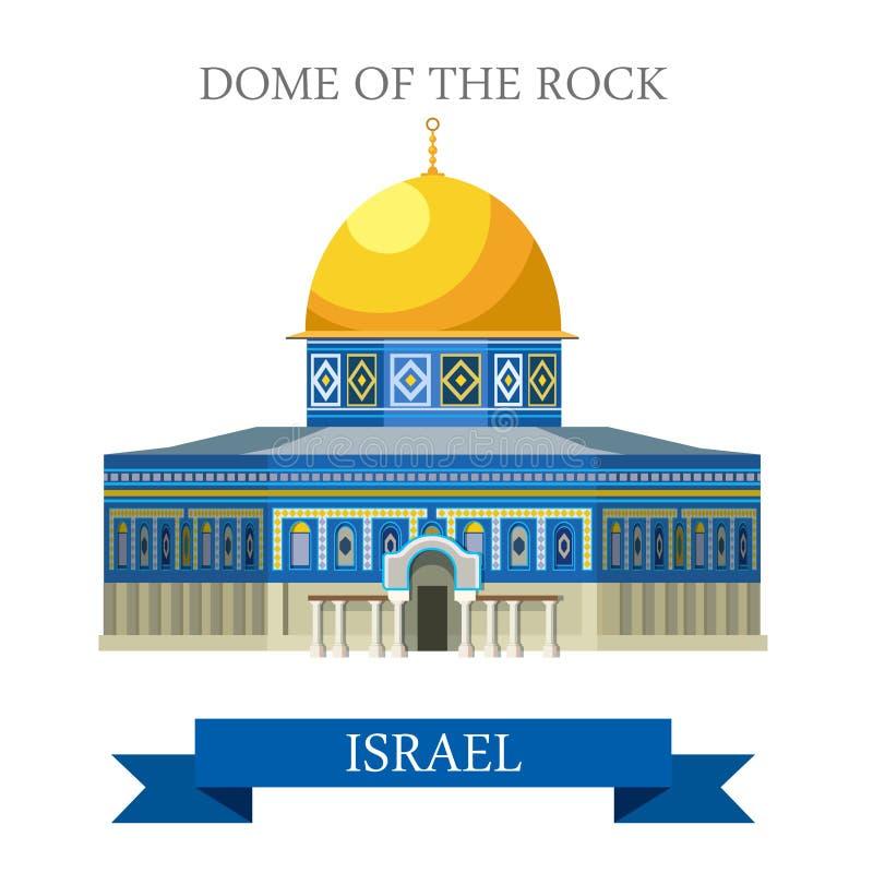 Abóbada da rocha na atração lisa do vetor de Israel do Jerusalém ilustração royalty free