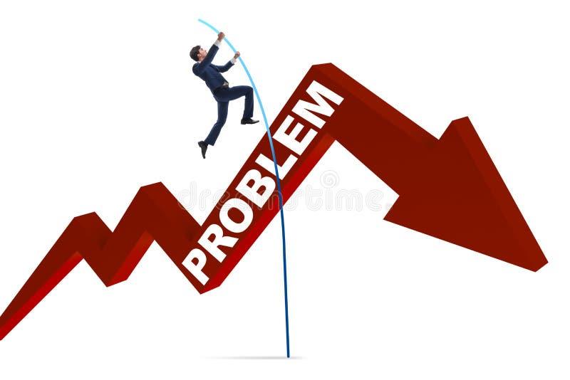 A abóbada de polo do homem de negócios sobre problemas no conceito do negócio ilustração stock