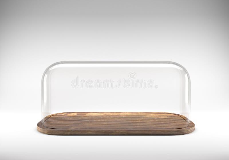 Abóbada de vidro com bandeja de madeira fotos de stock