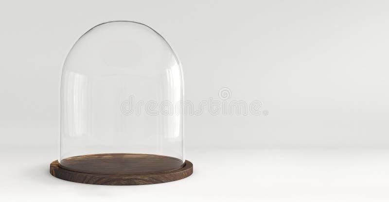 Abóbada de vidro com a bandeja de madeira no fundo branco imagens de stock royalty free