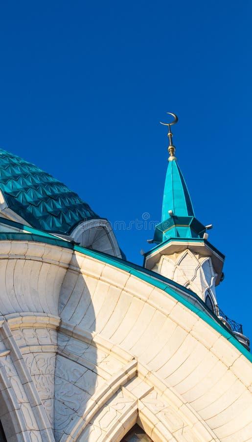 Abóbada e minarete de Qol Sharif Mosque Kazan Kremlin Fragmento arquitetónico fotografia de stock