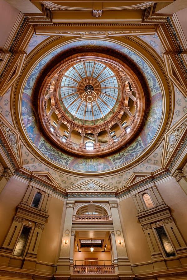 Abóbada interna do Capitólio do estado de Kansas fotos de stock royalty free