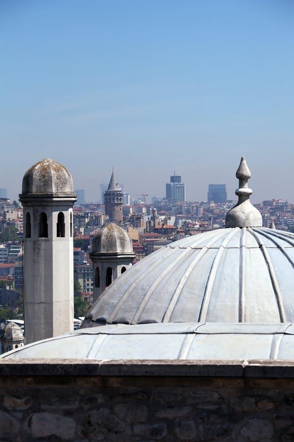 Abóbadas da mesquita de Suleymaniye, Istambul fotos de stock royalty free