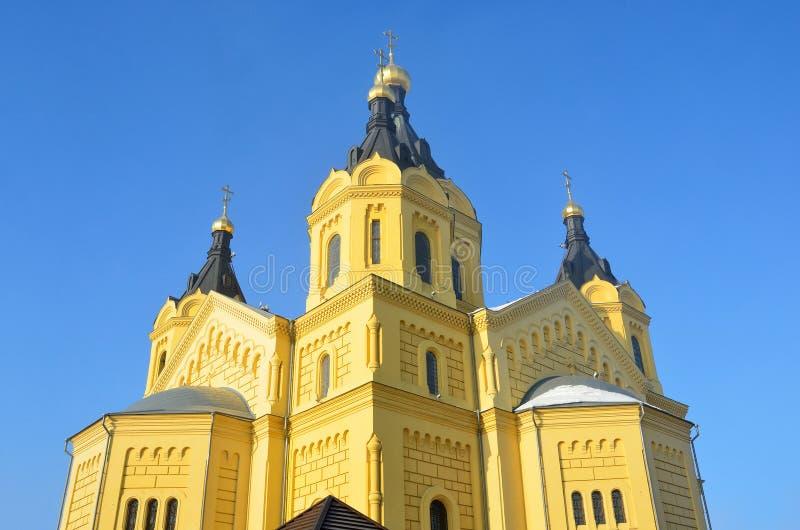 Abóbadas de Alexander Nevsky Cathedral em Nizhny Novgorod fotos de stock royalty free