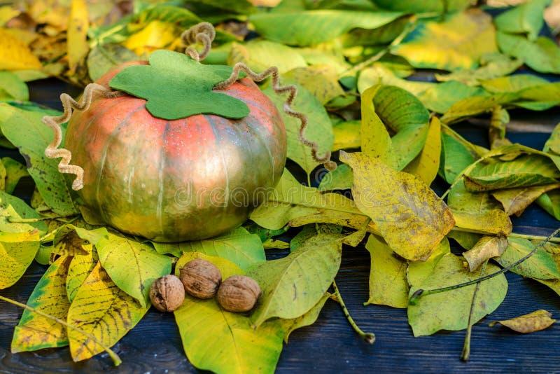 A abóbora alaranjada madura encontra-se nas folhas de outono amarelas outono ainda l foto de stock
