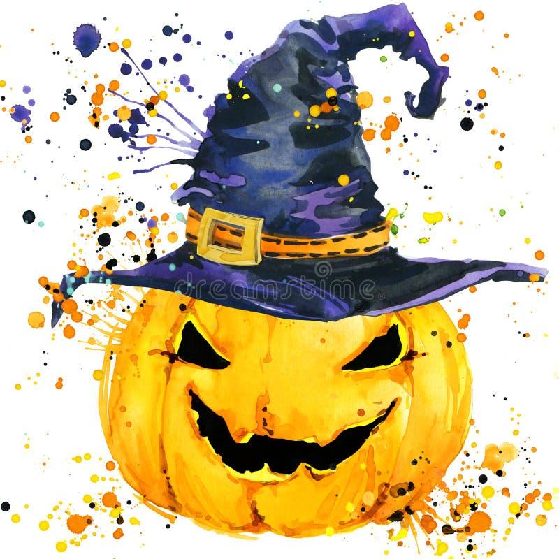 Abóbora cinzelada de Halloween Fundo da ilustração da aquarela para o feriado Dia das Bruxas