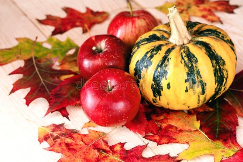 Abóbora com maçãs fotografia de stock royalty free