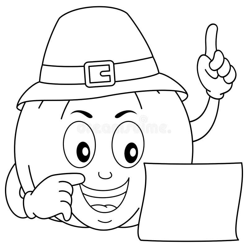 Abóbora da ação de graças da coloração com chapéu ilustração royalty free