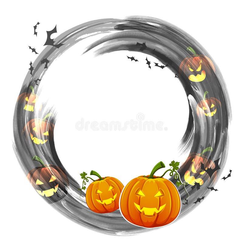 abóbora da Jack-o-lanterna na noite de Dia das Bruxas ilustração do vetor