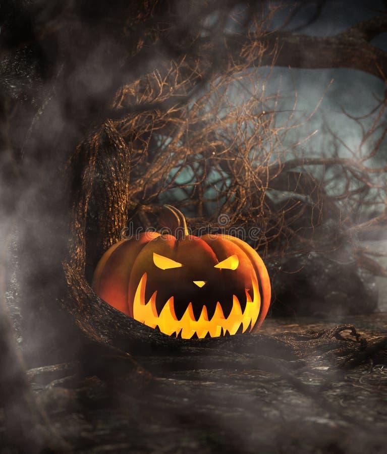 Abóbora de Dia das Bruxas na floresta assustador na noite ilustração royalty free