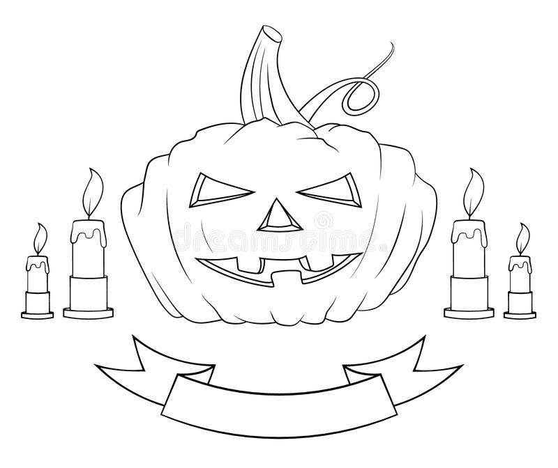 Abóbora de Dia das Bruxas, quatro velas e fita Abóbora do desenho da mão Ilustração do vetor para Dia das Bruxas Backround branco fotografia de stock royalty free