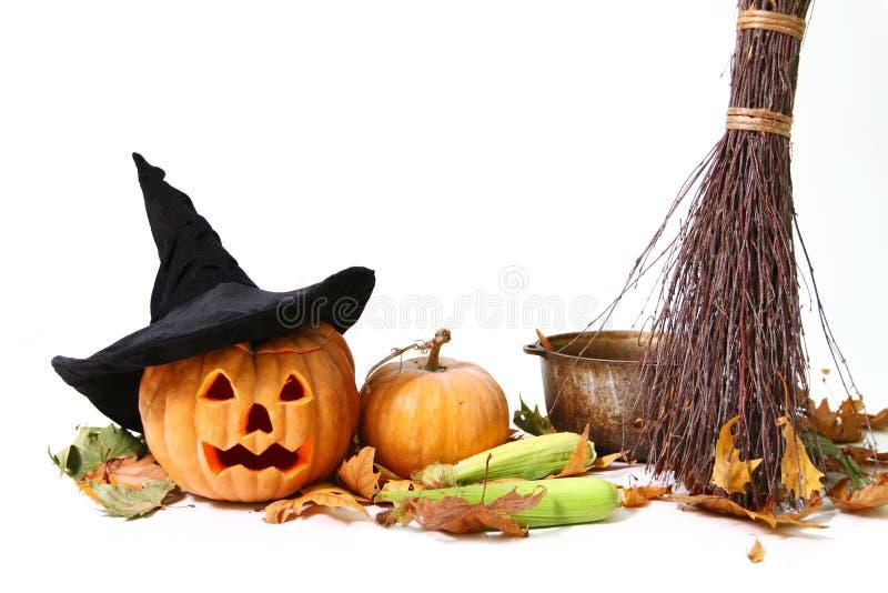 Abóbora de Halloween, chapéu fotografia de stock