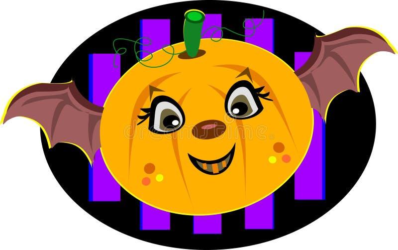 Abóbora de Halloween com asas do bastão ilustração stock