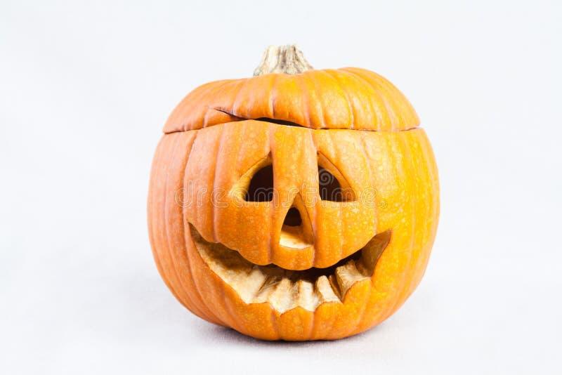 Abóbora de Halloween com face assustador imagens de stock