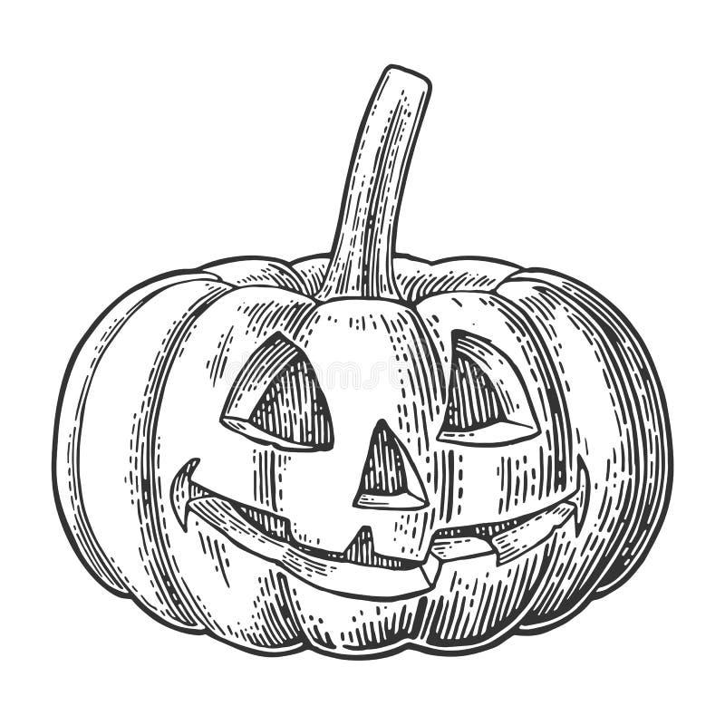 Abóbora de Halloween com face assustador Ilustração da gravura do vintage do vetor ilustração royalty free