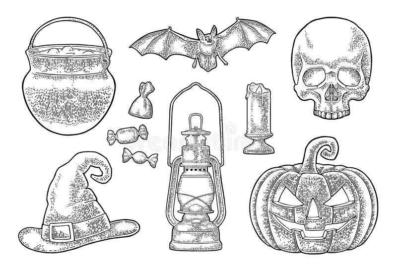 Abóbora de Halloween com face assustador Ilustração da gravura do vintage do vetor ilustração do vetor