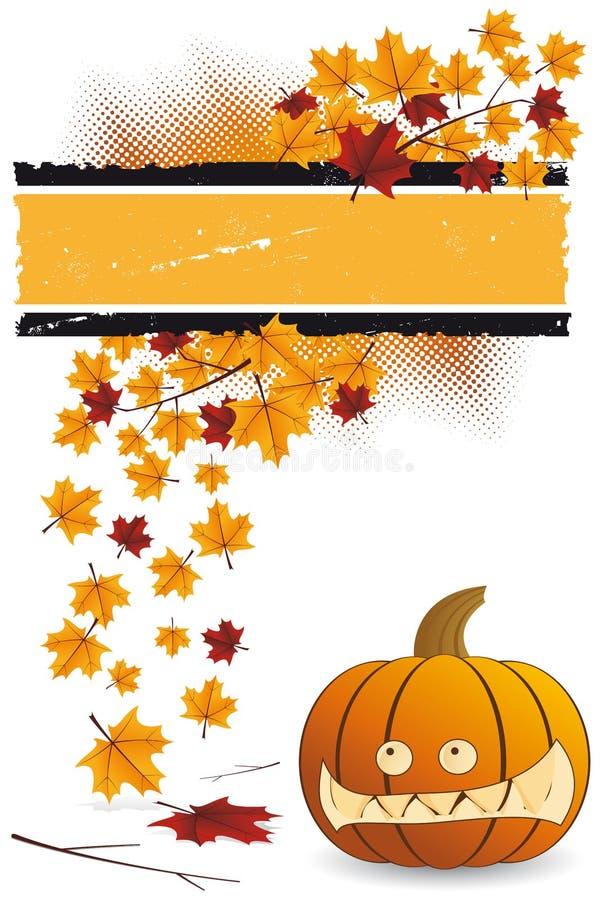 Abóbora de Halloween com folhas ilustração do vetor