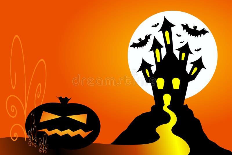 Abóbora de Halloween e casa assombrada ilustração stock