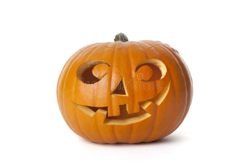 Abóbora de sorriso de Halloween no fundo branco fotografia de stock royalty free