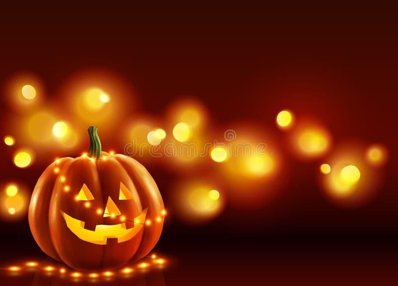 A abóbora de sorriso do Dia das Bruxas da cara com a festão pequena e o brilho dos bulbos ilumina-se no fundo escuro Cumprimento  ilustração do vetor