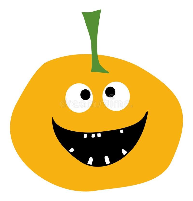 A abóbora de sorriso em um estilo liso simples da abóbora branca do amarelo do vetor do ícone da abóbora do ícone da abóbora de D ilustração do vetor